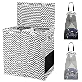 HOUSE AGAIN Double Laundry Hamper with Lid and Removable Laundry Bags,2 Dividers Dirty Clothes Basket with Handles for Bedroom, Laundry Room, Closet, Bathroom, College(Jagged stripe)