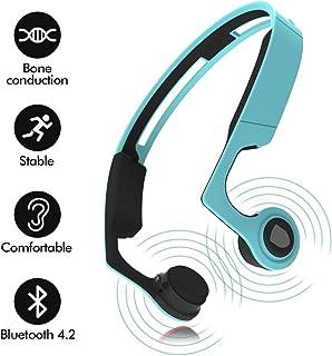 Kasono Ear Bone Conduction Headphones Bluetooth 4.2 with Mic, Sports Open-Ear Stereo Wireless Headset, Sweatproof Earphone for Running Driving Riding Fitness, Lightweight-Blue