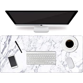 """HAOCOO Desk Pad, Office Desk Mat 35.4"""" ×15.7"""" Large Gaming Mouse Pad Durable Extended Computer Mouse Pad Water-Resistant Thick Writing Pads with Non-Slip Rubber Base for Office Home,White Marble"""
