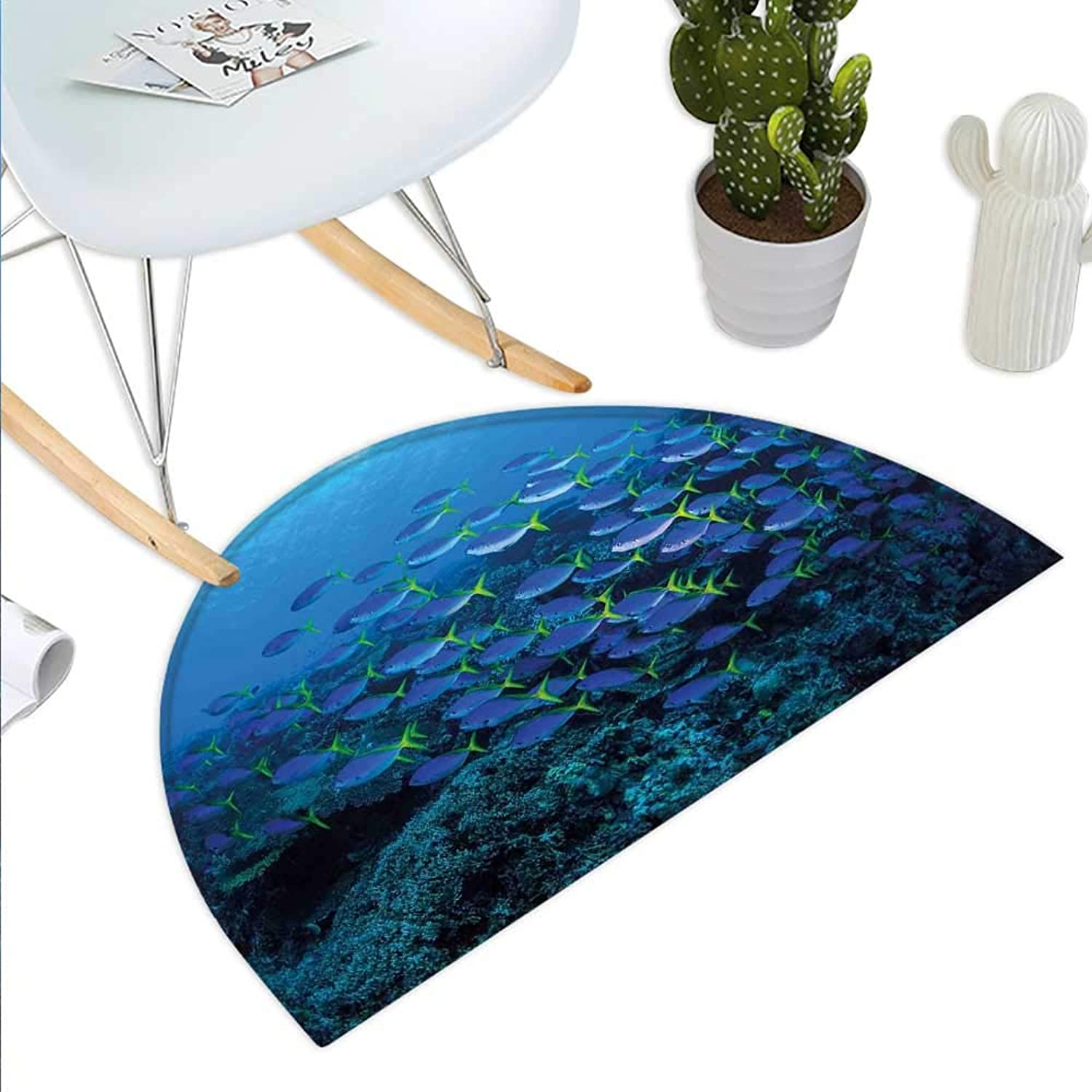 Fish Semicircle Doormat Shoal of Fish on Stony Plant Animals in Submarine and Sun Beams on The Surface Image Halfmoon doormats H 31.5  xD 47.2  Multicolor