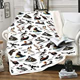 LUTTY Throw Blanket for Chair, Cute Duck Fleece Blankets and Throws for Women Men Kids, Luxury Soft Blankets for All Seasons ,Couch, Bed, Sofa, Travel, Office Suitable(50' x 60')-White