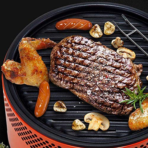 HYTX Portable Outdoor Smokeless Charcoal BBQ Grill with Non Stick Interchangeable Griddle Plate and Battery Powered Ventilation Fan For Outdoor Cooking While Camping, Tailgating or Picnicking