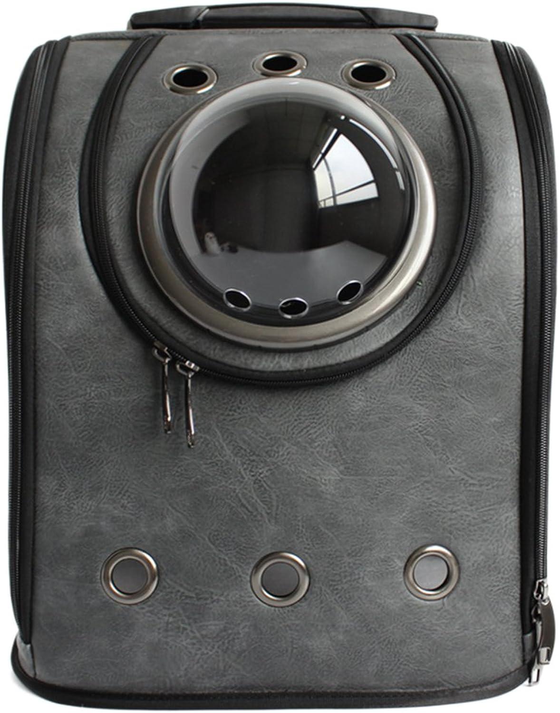 RAVPump Pet Backpack Astronaut Dog Cat Carrier Space Capsule PU Leather Pet Breathable Travel Bag (Dark Grey)