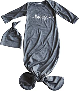 Silky Knotted Baby Gown with Hat-Personalized (Sweetly Modern)