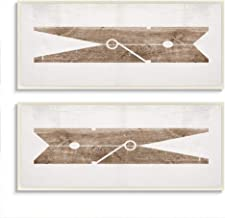 Stupell Industries Minimal Laundry Clothespins Brown White Design Wall Art, 2pc, each 7 x 17, Beige