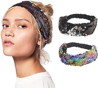 Ushiny - Fascia elastica per capelli, stile boho, con paillettes, per donne e ragazze (2 pezzi)