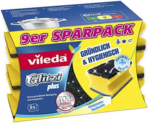 Vileda 142.596 Glitzi Plus con Antibac - a Fondo, igienico e Assorbente - 9s Sparpack