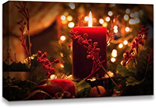 NWT IDEA4WALL Canvas Wall Art Christmas Candles for Celebration Painting Artwork for Home Prints Framed - 12x18 inches