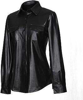 45980b479e3e2 Sorrica Womens Sexy Shiny Metallic PU Faux Leather Nightclub Styles Long  Sleeves Button Down Shirts Top