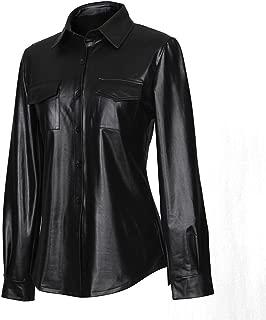 Sorrica Womens Sexy Shiny Metallic PU Faux Leather Nightclub Styles Long Sleeves Button Down Shirts Top
