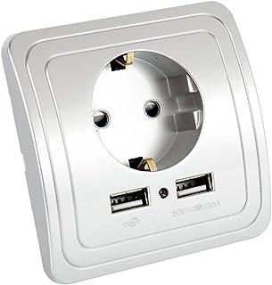 Enchufe para la pared con 2 puertos de carga USB OurLeeme toma USB Sockets de pared blancos 2A 2 PCS