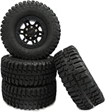 Boliduo 4PCS 1.9 Inch 100mm Rubber Tires with Plastic Beadlock Wheel Rims for 1:10 RC Rock Crawler RC4WD D90 D110 Axial SCX10 Tamiya CC01