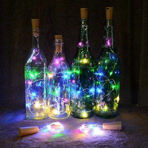 Lumières LED pour Bouteilles, 4 Pack 2M 20 LED Bouteilles de vin Guirlandes Lumières à Piles étanche pour Bricolage Fête Mariage Chambre Décor (Multicolor)