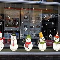 Mei-YY インテリアウォールステッカーウォールステッカー雪だるま雪の結晶クリスマスストア装飾ガラス窓モールウィンドウステッカー