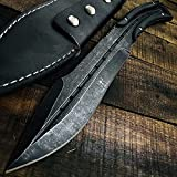 AULAKNIV Collect Customized Full Tang Fixed Blade D2 Steel Perfect Tactical Design 12.5' Knives Combat,Hunting,Survival,Camping Tools W/Leather Sheath (Stonewash)