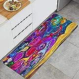 WOTAKA Alfombra de cocinaFondo Colorido Retro Abstracto de la Infancia del mundoAlfombras y tapetes de Cocina Impermeables Antideslizantes Gruesos, (45*120cm