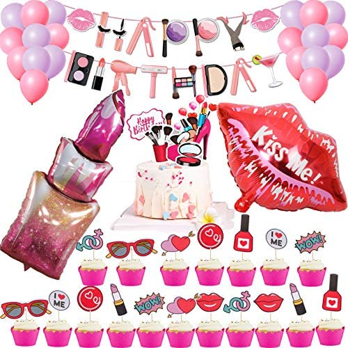 Spa Party Decorations Set Spa Party Balloons Make Up Happy Birthday Banner Spa Make Up Cupcake product image