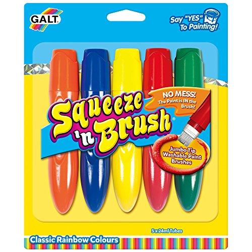 Galt Toys, Squeeze 'n Brush – fünf Klassische Farben, Pinselmalstifte, ab 3 Jahren