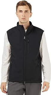 MIER Men's Outdoor Tactical Vest Zip Front Windproof Softshell Vest, Water-Resistant, 8 Pockets, Black