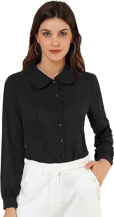 60s Shirts, T-shirts, Blouses, Hippie Shirts Allegra K Womens Button Up Shirt Career Peter Pan Collar Long Bishop Sleeve Blouse  AT vintagedancer.com