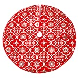 VORCOOL - Falda de árbol de Navidad para árbol de Navidad (rojo)