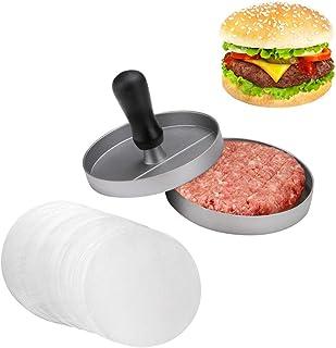JZK Presse-hamburger maison Machine à hamburger Anti-adhésif avec 80 papiers de galette pour barbecue et viande