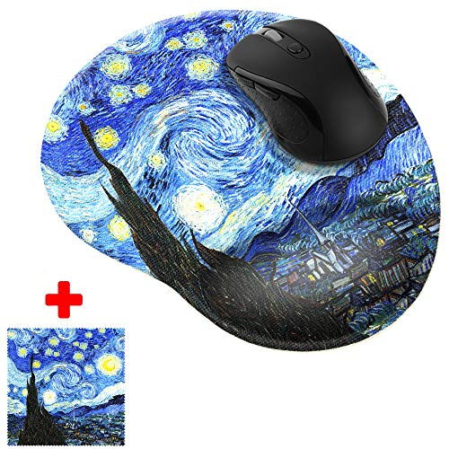 WIRESTER The Starry Night Van Gogh Comfortable Wrist Support Mouse Pad for Home and