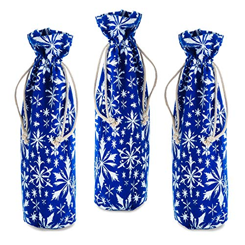 Hallmark Holiday Drawstring Fabric Bottle Bags (Pack of 3: Navy Blue with White Snowflakes) for Christmas, Hanukkah, Winter Parties, Hostess Gifts and More
