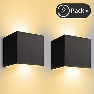 12W*2 Aplique Pared LED Interior/Exterior Blanco Cálido 3000K 1000lm LEDMO Lampara De Pared IP65 Impermeable Led Lámpara Pared Negro