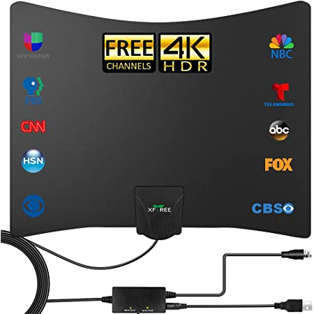 TV Antenna - 2021 Newest Amplified HD Digital Indoor TV Antenna 250 Miles Long Range - Compatible 4K 1080p Fire tv Stick and All Older TVs with Amplifier Signal Booster for VHF UHF Free Channels
