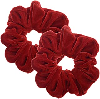 2 Pcs Red Color Large Size Scrunchies for Hair Women Hair Elastic Bands