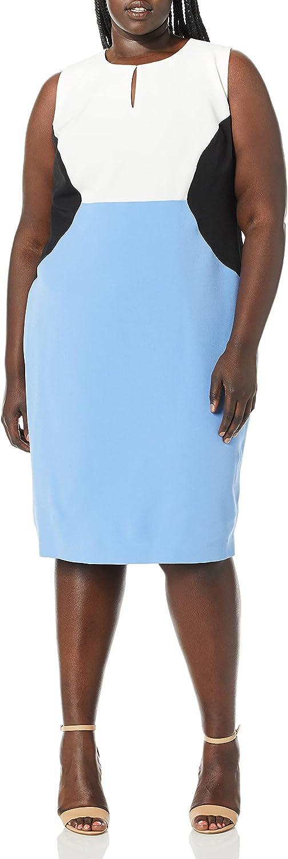 Kasper Women's Sleeveless Jewel Neck Color Block Stretch Crepe Dress
