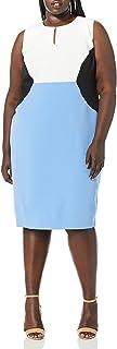 Kasper womens SLEEVELESS JEWEL NECK COLOR BLOCK STRETCH CREPE DRESS Dress