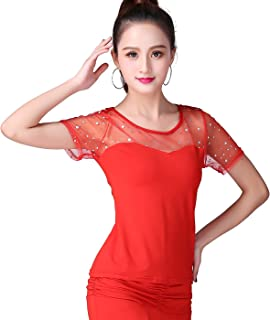 Details about  /Lady Latin Dance Blouse T-shirt Tops Ballroom Salsa Tango Floral Embroidery Cute