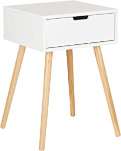 Hartleys 1 Drawer White Retro Bedside Table