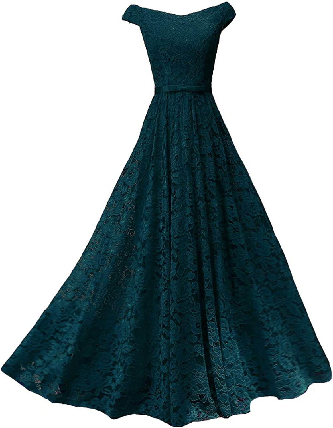 Lemai V Neck Off The Shoulder Lace A Line Long Formal Prom Dresses Evening Gown