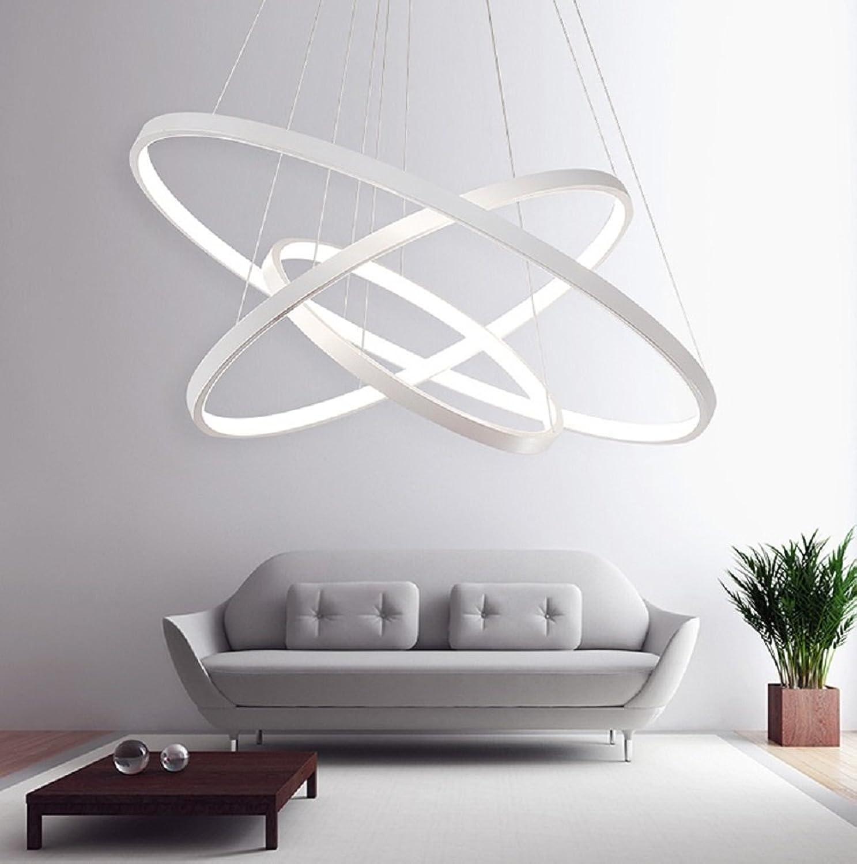 LED Lüster Modern Acryl Pendelleuchte Drei Ringe Deckenlampe Kreative Kronleuchter Hngeleuchte Wohnzimmer Schlafzimmer Esszimmer Wei Deckenleuchter Warmwei Licht Lichtquelle war enthalten