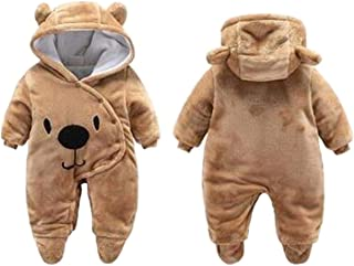 BANGELY Newborn Baby 3D Cartoon Bear Hooded Thick Windproof Romper Jumpsuit Warm Footies