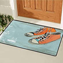 Modern Welcome Door mat Old Fashioned Punk Sports Shoes with Murky Grunge Effects Youth Graphic Art Door mat is odorless and Durable W35.4 x L47.2 Inch Orange Pale Blue