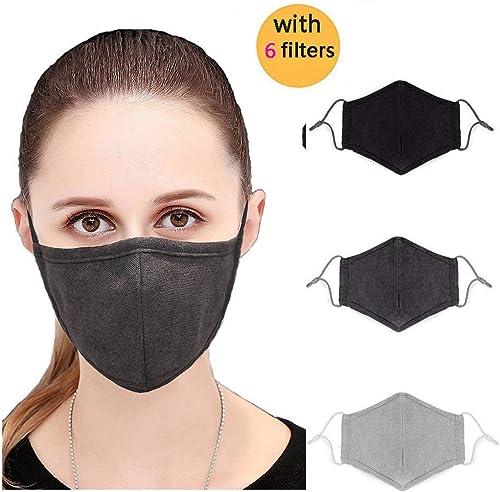 Erwachsene N95 emschutzmaske SchwarzGrau Face Maske Grippe Maske, Staub Maske, Allergy Maske bequem, wiederverwendbar Schutz vor Staub, Pollen, Allergene, & Grippe germs-3pcs