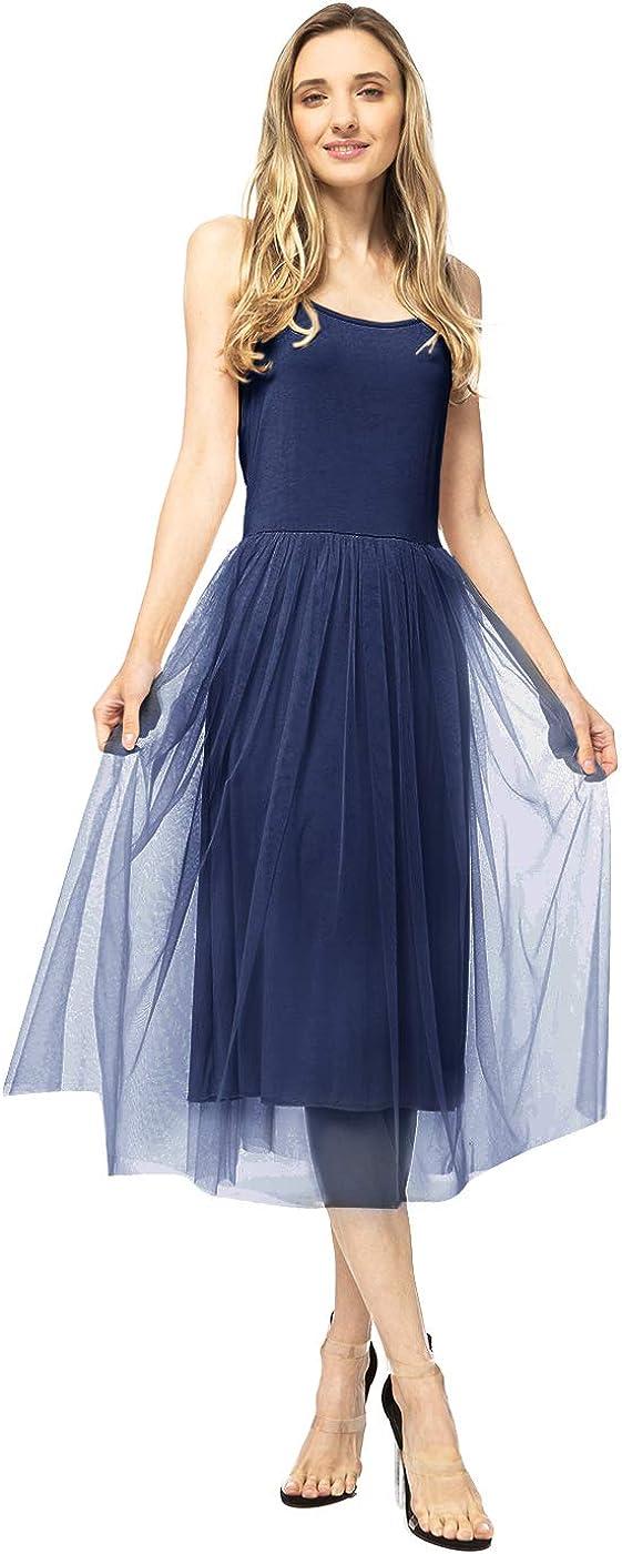 Anna-Kaci Womens Adjustable Strap Tutu Tulle Swing Ruffle Slim Prom Midi Dress
