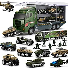 Carrier truck with 10 different army car and 16 featuring plastic soldiers Figure, include 2 helicopter, tank, armored vehicle, Long Truck, Anti-Air Vehicle. Pickup Truck, and so on. Providing long-lasting strength and use, this army guy and alloy tr...