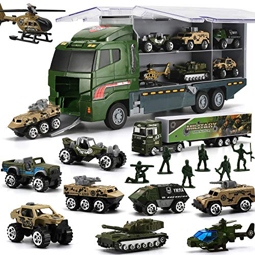 26 in 1 Camion E Soldatini Giocattoli Militari Kit, Mini Auto da Battaglia Pressofusa in Camion Portapacchi, Giocattolo dell'Esercito Doppio Veicolo di Trasporto Laterale per Bambino, Bambina