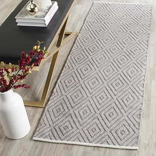 "Safavieh Montauk Collection MTK811A Handmade Flatweave Grey and Ivory Cotton Runner (2'3"" x 11')"