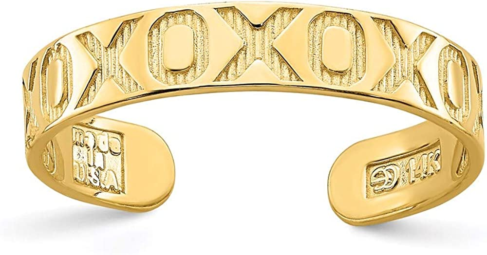 14k Yellow Gold X O Pattern Adjustable Cute Toe Ring Set Fine Jewelry For Women Gifts For Her