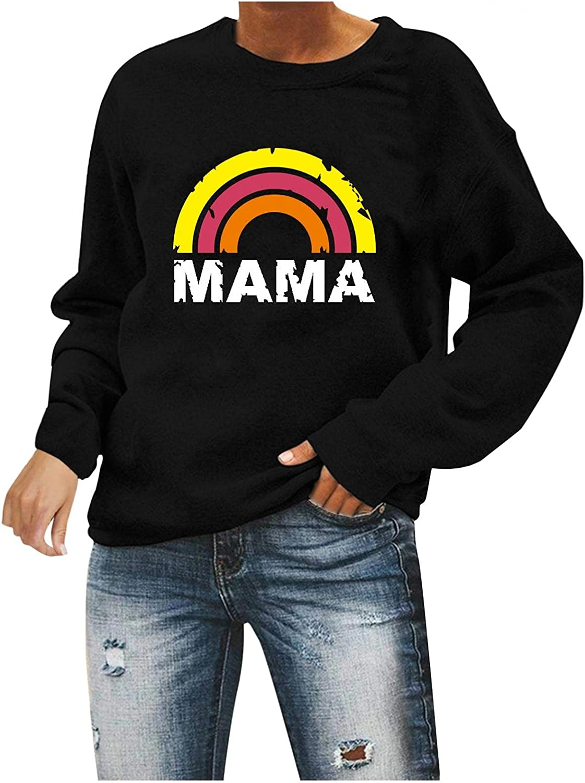 Qisemi Sweatshirt for Women Womens Max 60% OFF Rainbow trend rank Top Pullover Printed