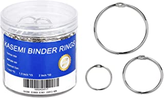 Binder Rings,KASEMI 100pcs Book Rings Assorted Sizes (1,1.5,2 inch) for School,Classroom,Office