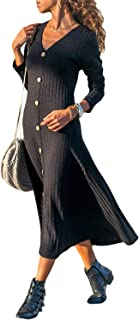 Womens Button Detail Long Sleeve Solid Maxi Dresses Casual Knit Long Dress