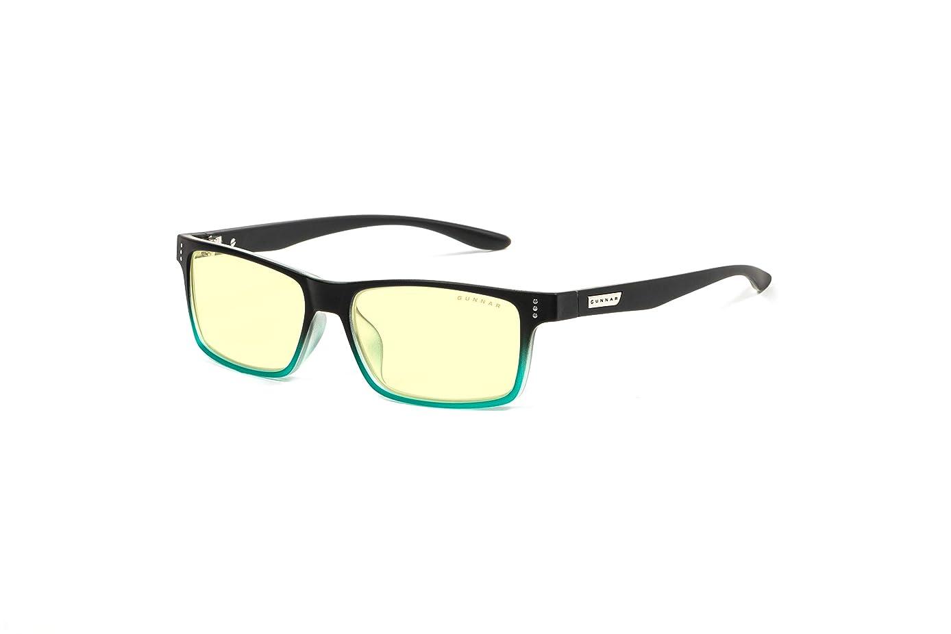 GUNNAR Youth Gaming and Computer Eyewear /Cruz, Onyx-Teal Frame, Amber Tint - Patented Lens, Reduce Digital Eye Strain, Block 65% of Harmful Blue Light