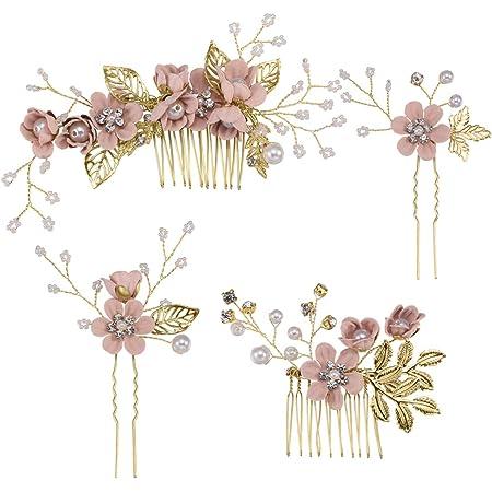 Toyvian 4 piezas peine para el cabello conjunto moda nupcial accesorios para el cabello de la boda tocado para dama de honor niñas mujeres (rosa)